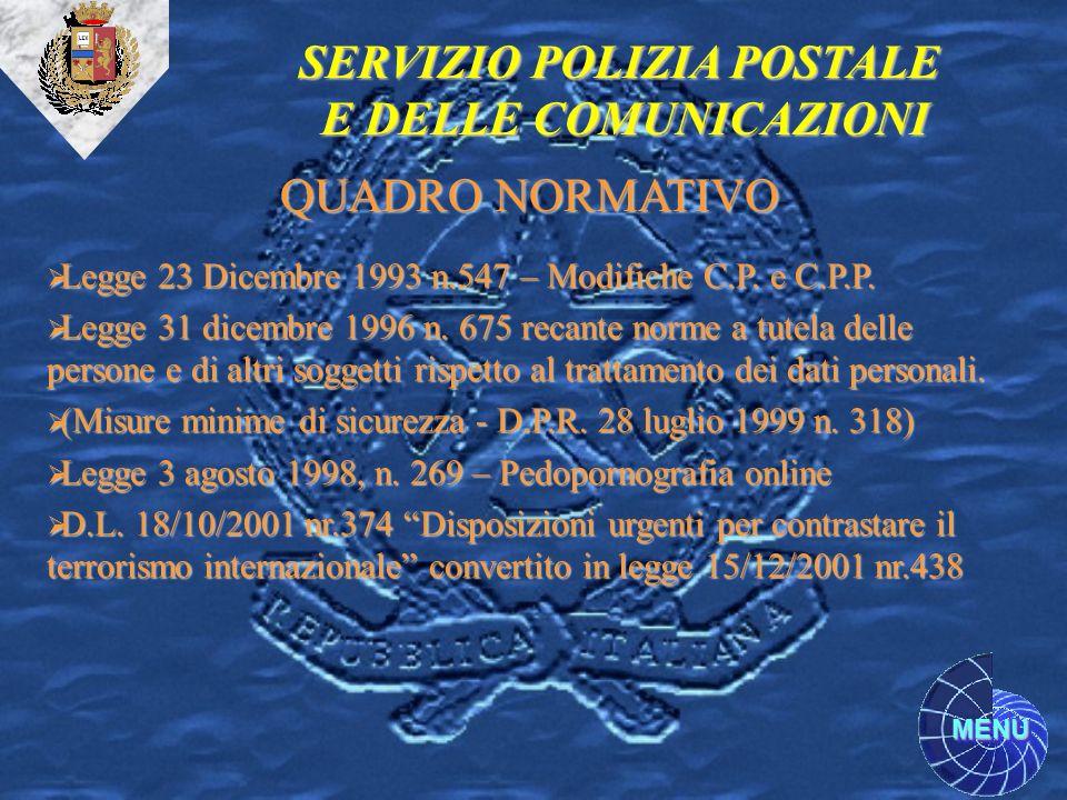 MENU Legge 23 Dicembre 1993 n.547 – Modifiche C.P. e C.P.P. Legge 23 Dicembre 1993 n.547 – Modifiche C.P. e C.P.P. Legge 31 dicembre 1996 n. 675 recan