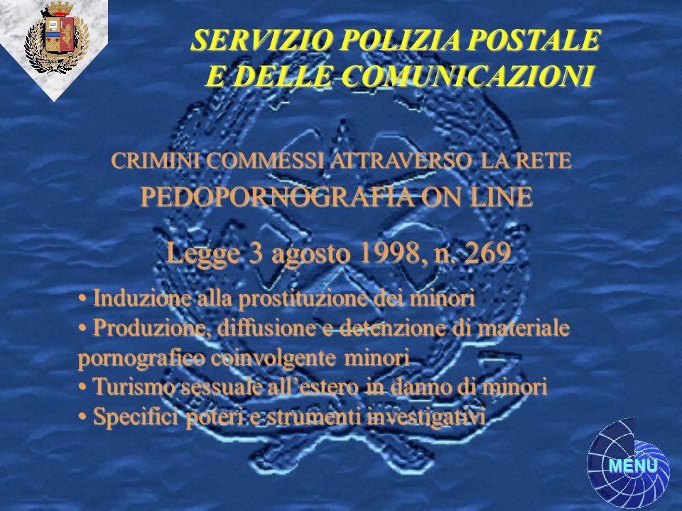 MENU SERVIZIO POLIZIA POSTALE E DELLE COMUNICAZIONI CRIMINI COMMESSI ATTRAVERSO LA RETE PEDOPORNOGRAFIA ON LINE Legge 3 agosto 1998, n. 269 Induzione