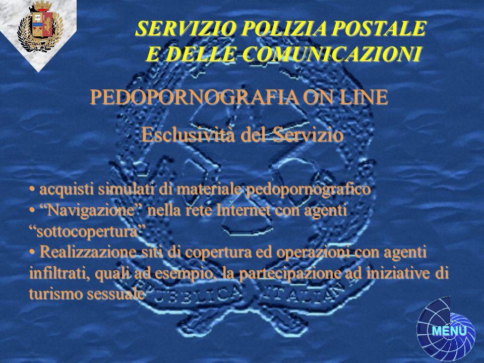 MENU SERVIZIO POLIZIA POSTALE E DELLE COMUNICAZIONI PEDOPORNOGRAFIA ON LINE Esclusività del Servizio acquisti simulati di materiale pedopornografico a