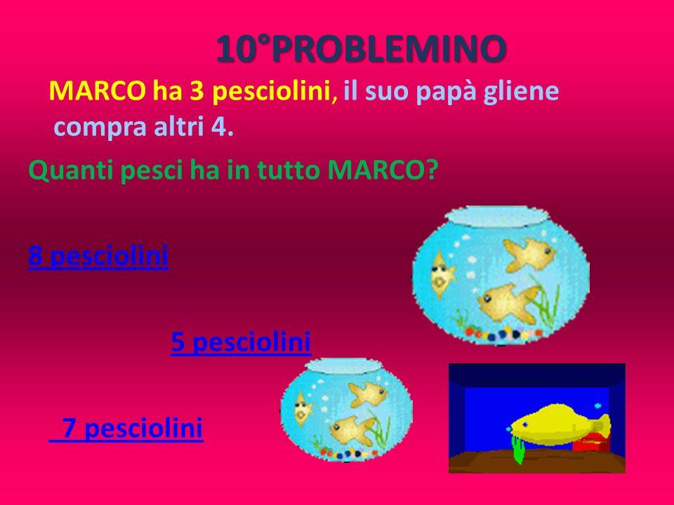 10°PROBLEMINO MARCO ha 3 pesciolini, il suo papà gliene compra altri 4. Quanti pesci ha in tutto MARCO? 8 pesciolini 5 pesciolini 7 pesciolini