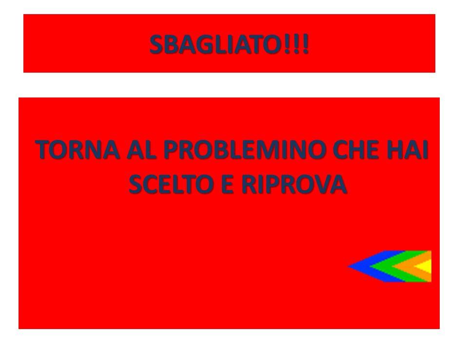 SBAGLIATO!!! TORNA AL PROBLEMINO CHE HAI SCELTO E RIPROVA TORNA AL PROBLEMINO CHE HAI SCELTO E RIPROVA