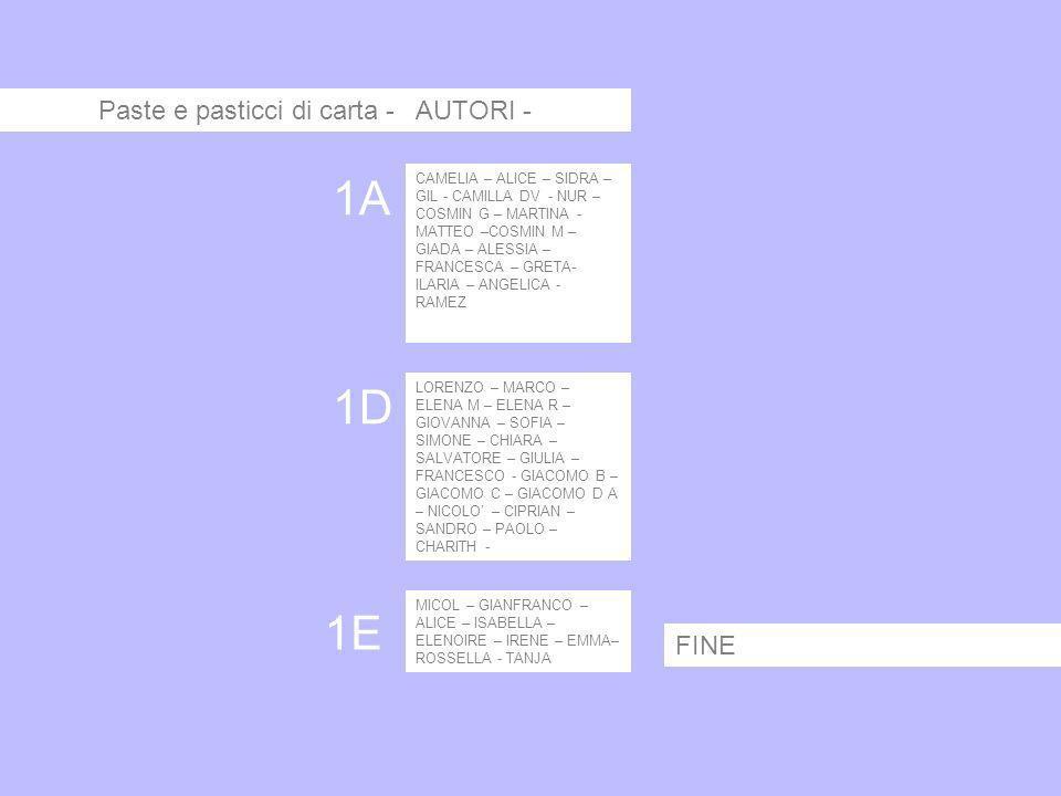 Paste e pasticci di carta - AUTORI - CAMELIA – ALICE – SIDRA – GIL - CAMILLA DV - NUR – COSMIN G – MARTINA - MATTEO –COSMIN M – GIADA – ALESSIA – FRAN