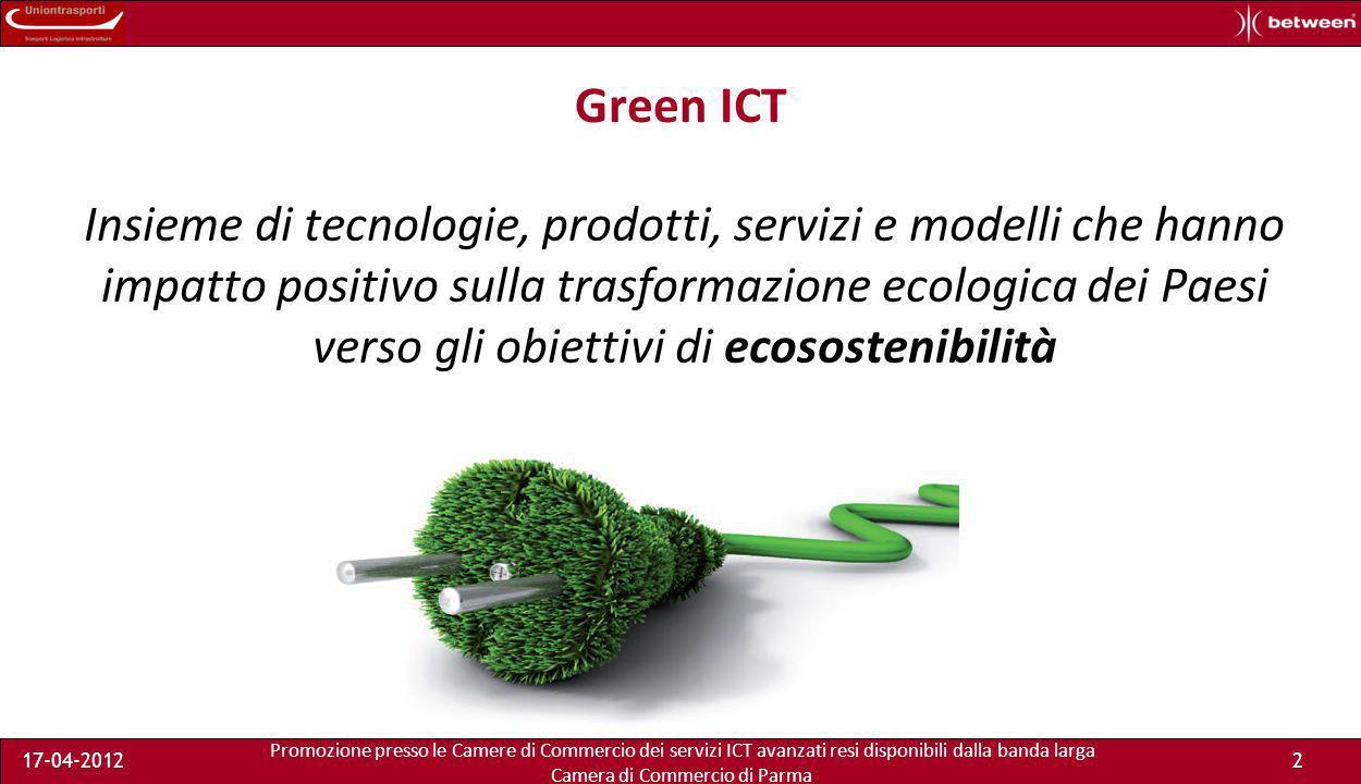 Promozione presso le Camere di Commercio dei servizi ICT avanzati resi disponibili dalla banda larga Camera di Commercio di Parma 17-04-20122 Green ICT Insieme di tecnologie, prodotti, servizi e modelli che hanno impatto positivo sulla trasformazione ecologica dei Paesi verso gli obiettivi di ecosostenibilità