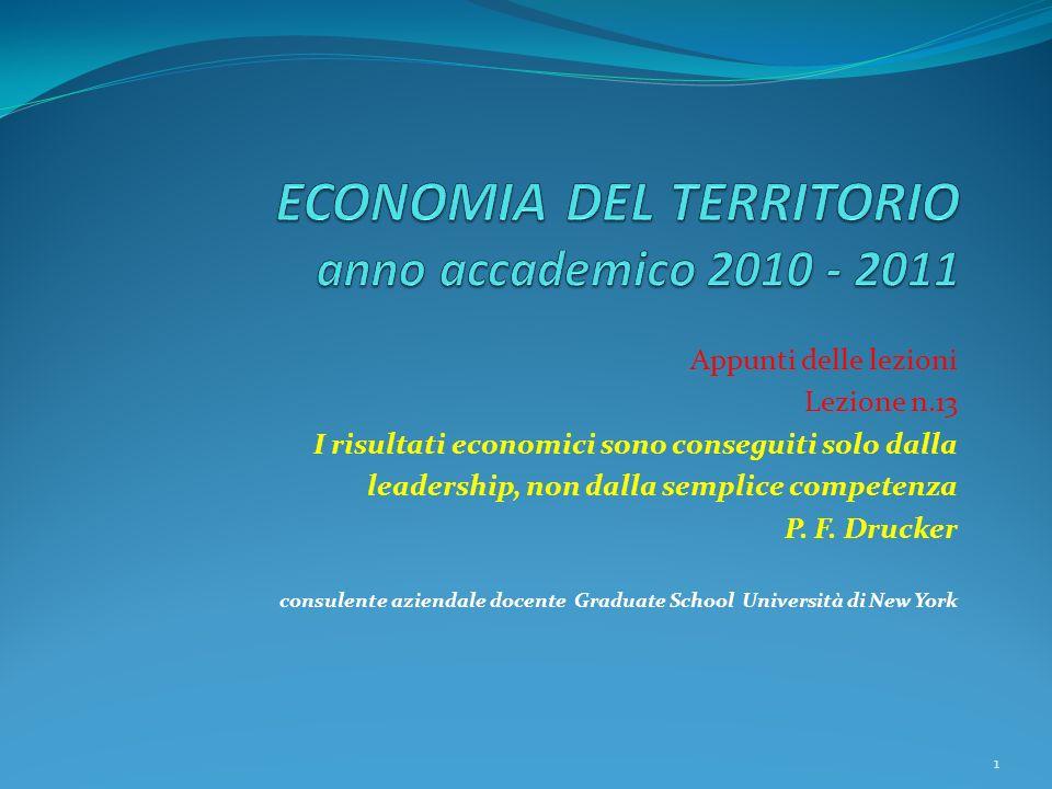 Appunti delle lezioni Lezione n.13 I risultati economici sono conseguiti solo dalla leadership, non dalla semplice competenza P.