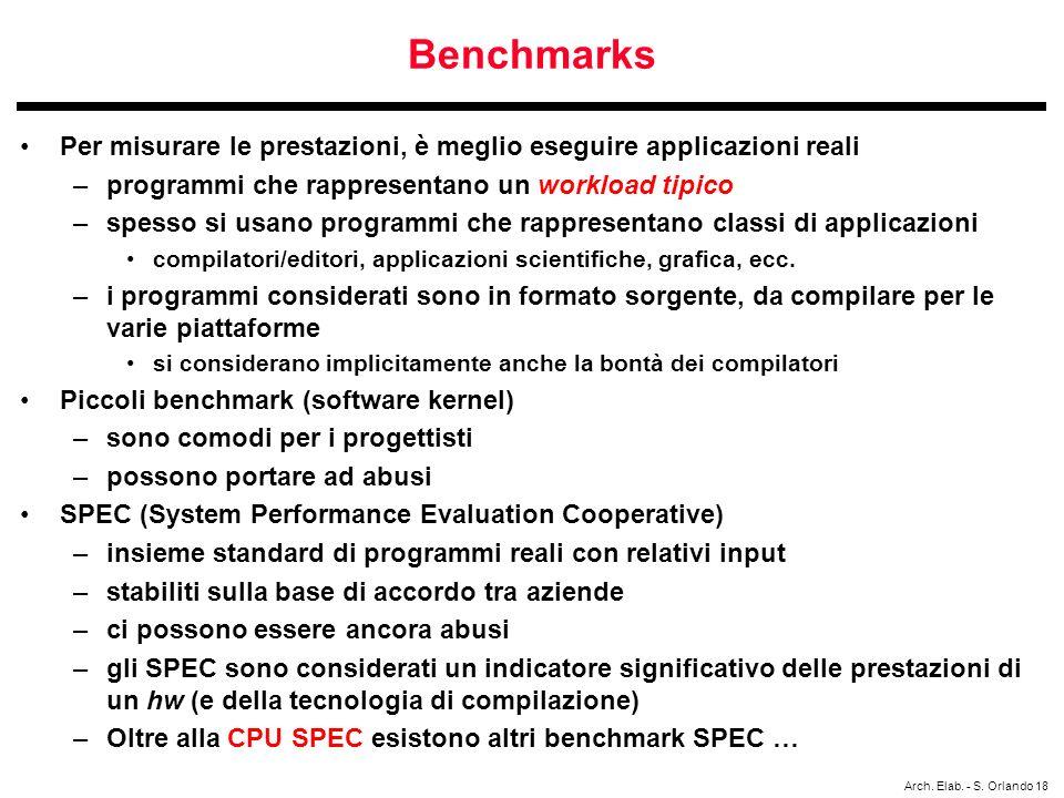 Arch. Elab. - S. Orlando 18 Benchmarks Per misurare le prestazioni, è meglio eseguire applicazioni reali –programmi che rappresentano un workload tipi