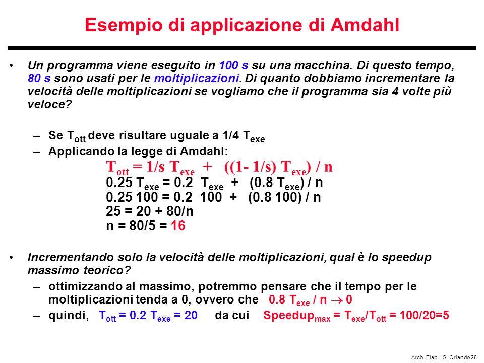 Arch. Elab. - S. Orlando 28 Esempio di applicazione di Amdahl Un programma viene eseguito in 100 s su una macchina. Di questo tempo, 80 s sono usati p