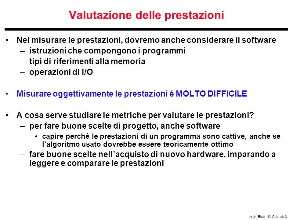 Arch. Elab. - S. Orlando 3 Valutazione delle prestazioni Nel misurare le prestazioni, dovremo anche considerare il software –istruzioni che compongono