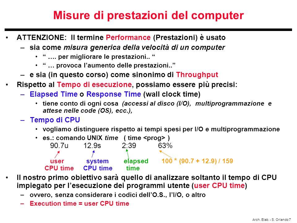 Arch. Elab. - S. Orlando 7 Misure di prestazioni del computer ATTENZIONE: Il termine Performance (Prestazioni) è usato –sia come misura generica della