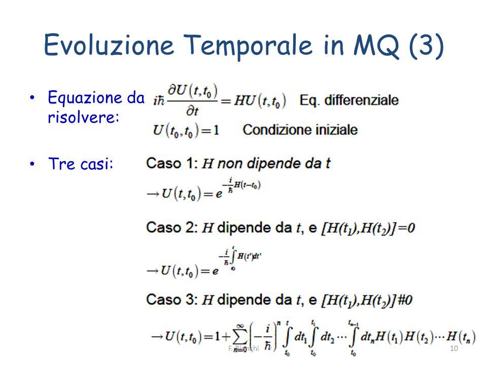 Evoluzione Temporale in MQ (3) Equazione da risolvere: Tre casi: 10F. Bianchi
