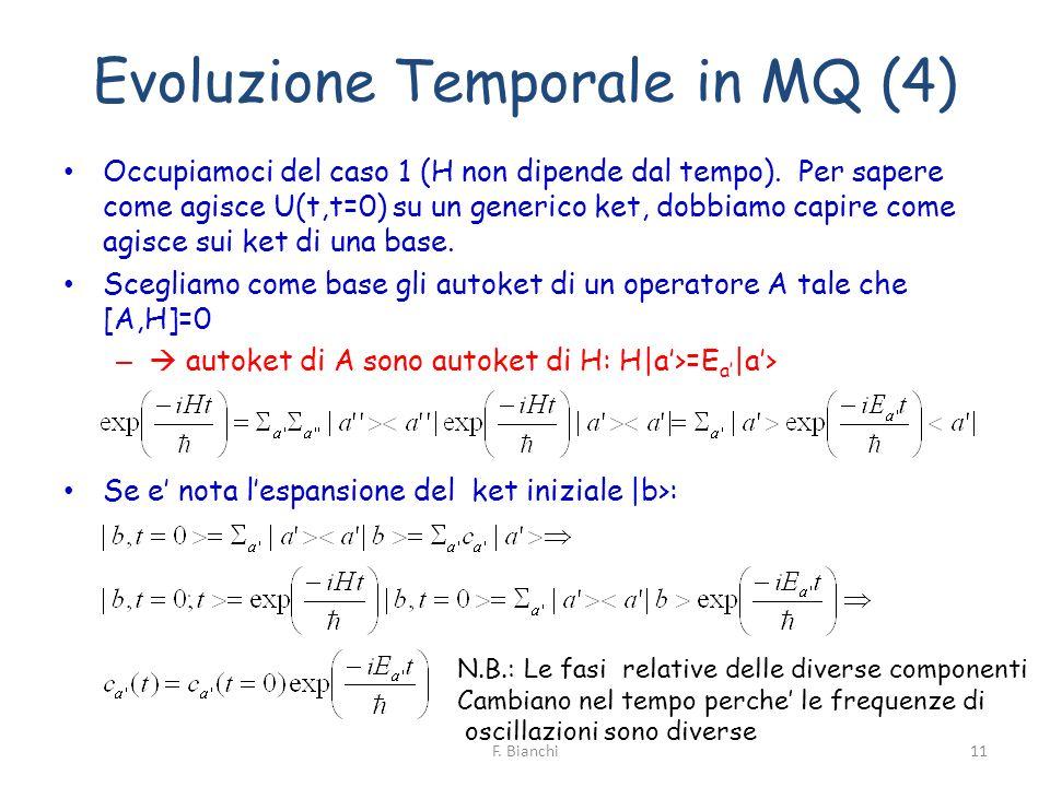 Evoluzione Temporale in MQ (4) Occupiamoci del caso 1 (H non dipende dal tempo). Per sapere come agisce U(t,t=0) su un generico ket, dobbiamo capire c