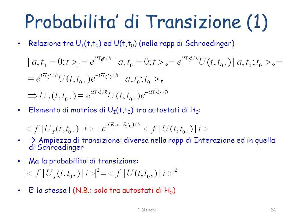 Probabilita di Transizione (1) Relazione tra U I (t,t 0 ) ed U(t,t 0 ) (nella rapp di Schroedinger) Elemento di matrice di U I (t,t 0 ) tra autostati