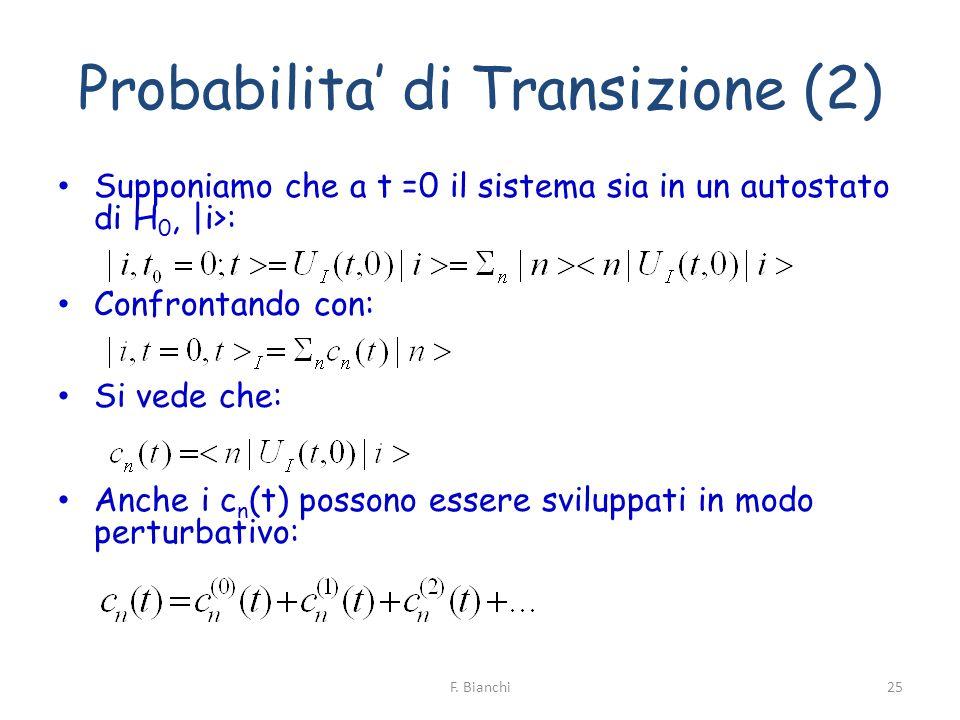 Probabilita di Transizione (2) Supponiamo che a t =0 il sistema sia in un autostato di H 0, |i>: Confrontando con: Si vede che: Anche i c n (t) posson