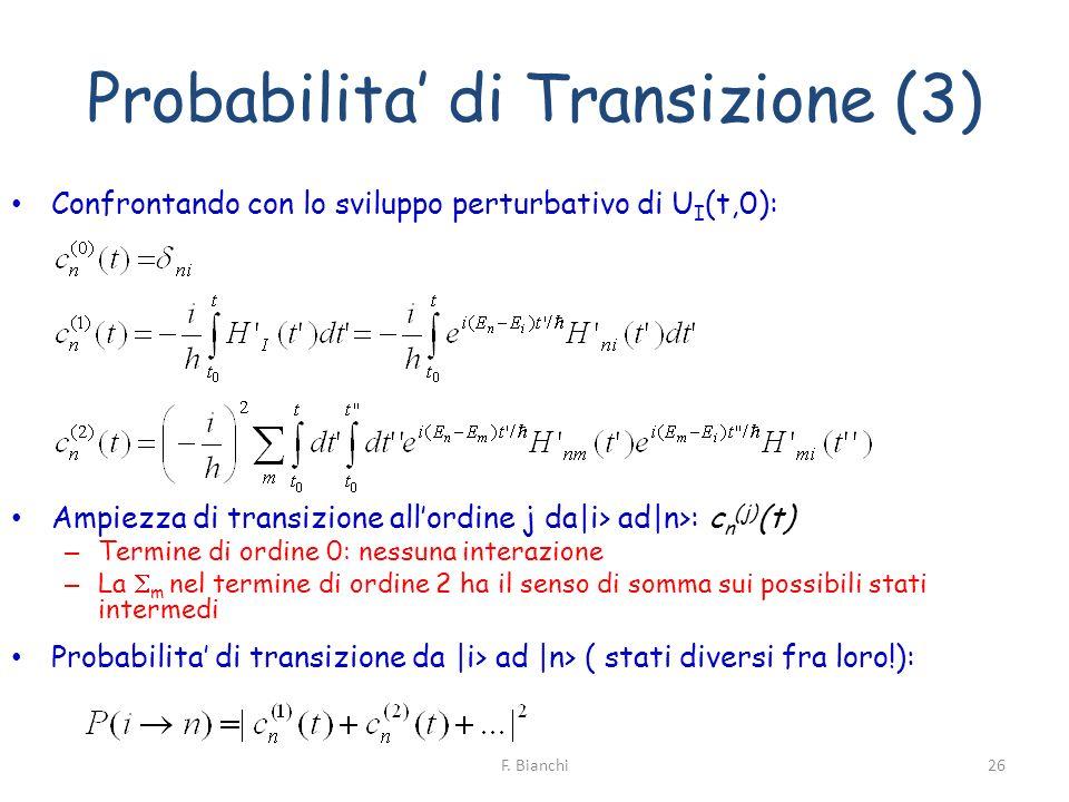 Probabilita di Transizione (3) Confrontando con lo sviluppo perturbativo di U I (t,0): Ampiezza di transizione allordine j da i> ad n>: c n (j) (t) –