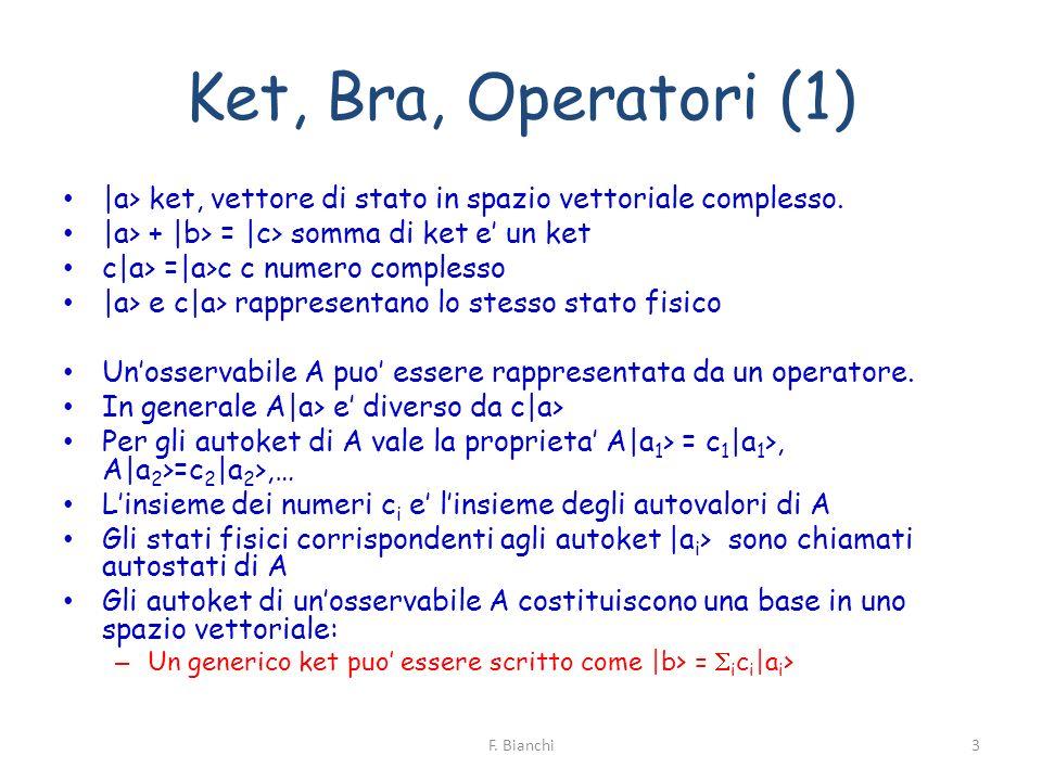 Ket, Bra, Operatori (1) |a> ket, vettore di stato in spazio vettoriale complesso. |a> + |b> = |c> somma di ket e un ket c|a> =|a>c c numero complesso