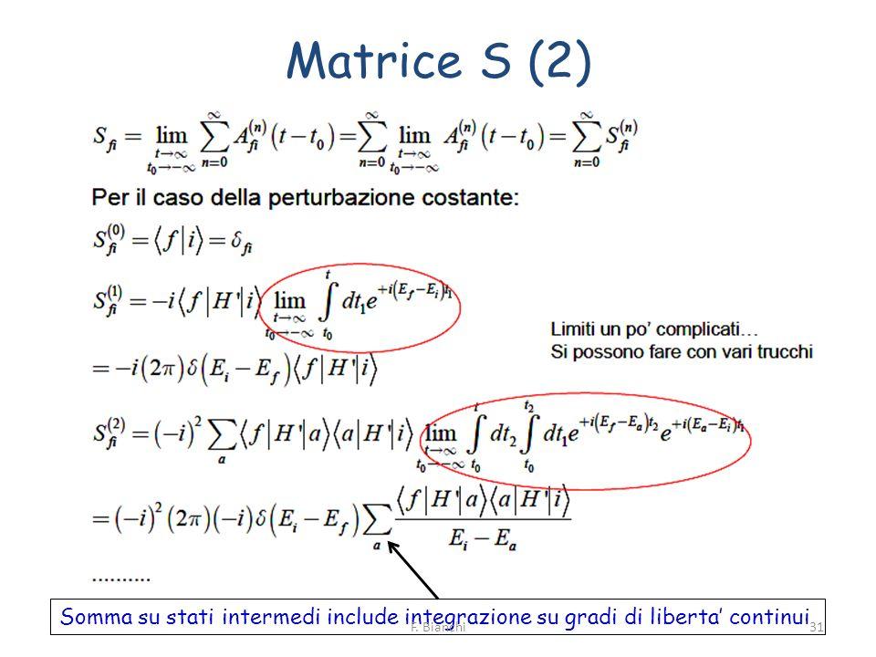 Matrice S (2) Somma su stati intermedi include integrazione su gradi di liberta continui 31F. Bianchi
