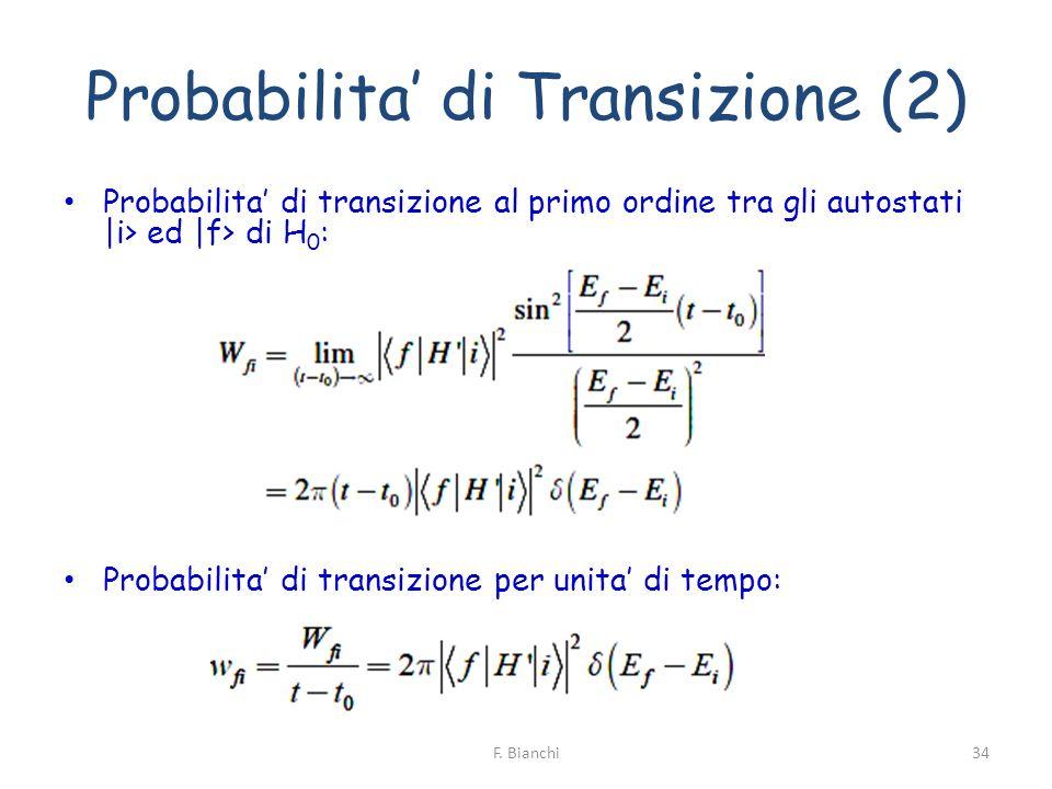 Probabilita di Transizione (2) Probabilita di transizione al primo ordine tra gli autostati  i> ed  f> di H 0 : Probabilita di transizione per unita d