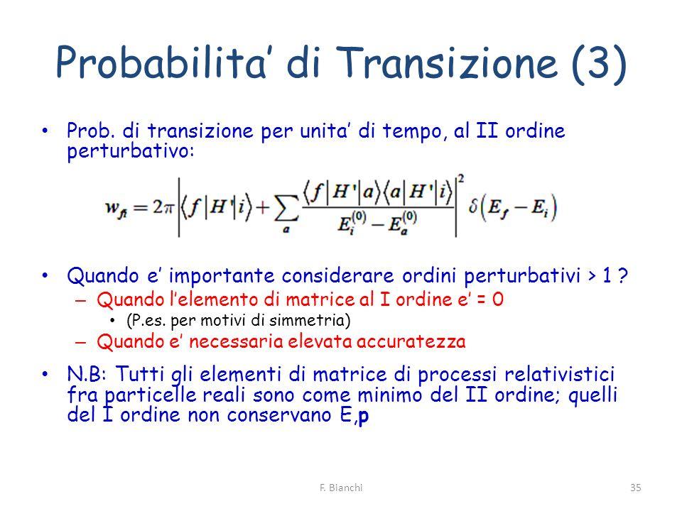 Probabilita di Transizione (3) Prob. di transizione per unita di tempo, al II ordine perturbativo: Quando e importante considerare ordini perturbativi