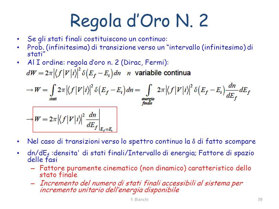 Regola dOro N. 2 Se gli stati finali costituiscono un continuo: Prob. (infinitesima) di transizione verso un intervallo (infinitesimo) di stati Al I o
