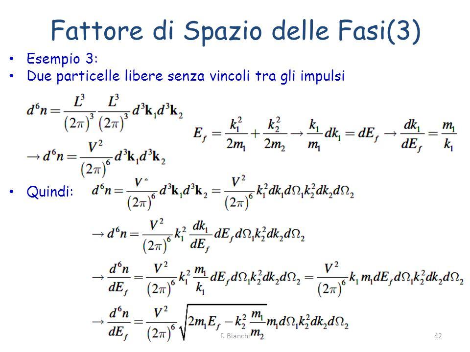 Fattore di Spazio delle Fasi(3) Esempio 3: Due particelle libere senza vincoli tra gli impulsi Quindi: F. Bianchi42