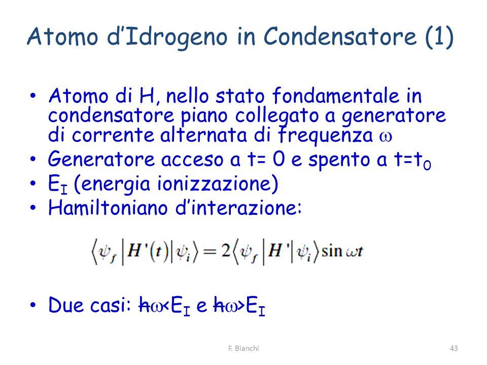 Atomo dIdrogeno in Condensatore (1) Atomo di H, nello stato fondamentale in condensatore piano collegato a generatore di corrente alternata di frequen