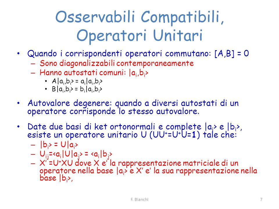 Osservabili Compatibili, Operatori Unitari Quando i corrispondenti operatori commutano: [A,B] = 0 – Sono diagonalizzabili contemporaneamente – Hanno a