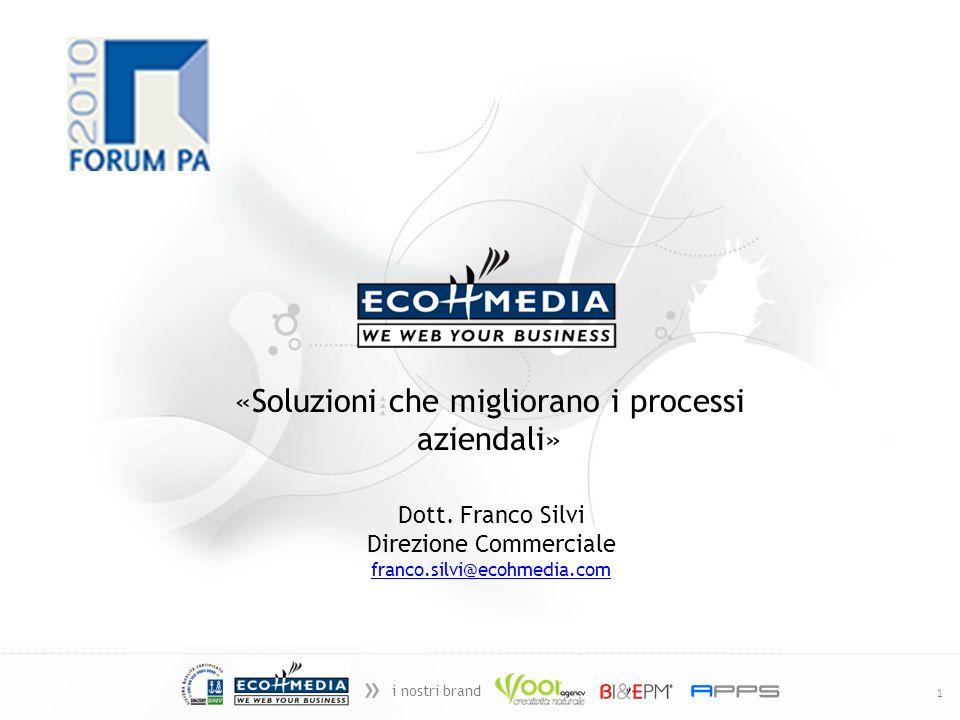 » i nostri brand 1 «Soluzioni che migliorano i processi aziendali» Dott. Franco Silvi Direzione Commerciale franco.silvi@ecohmedia.com