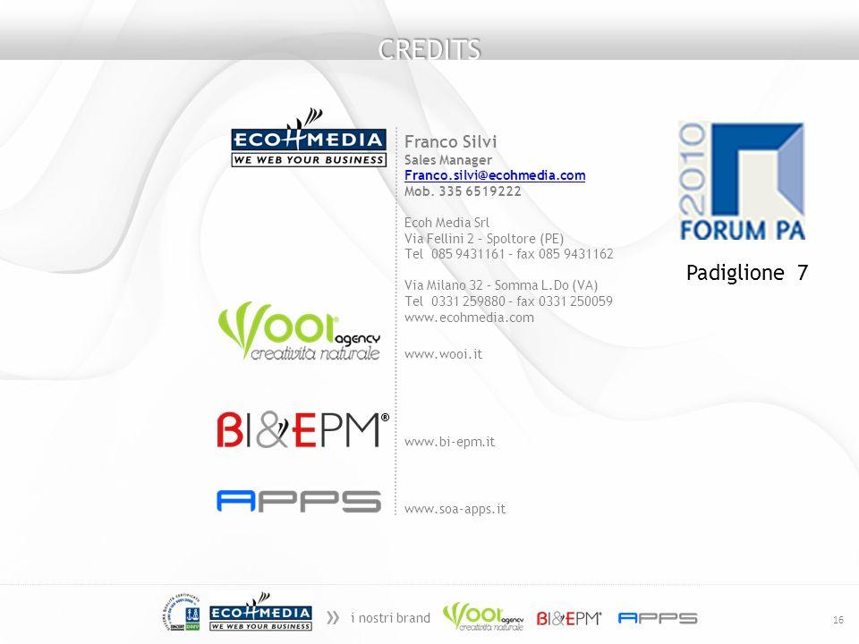 » i nostri brand 16 CREDITS www.wooi.it www.bi-epm.it www.soa-apps.it Franco Silvi Sales Manager Franco.silvi@ecohmedia.com Mob. 335 6519222 Ecoh Medi