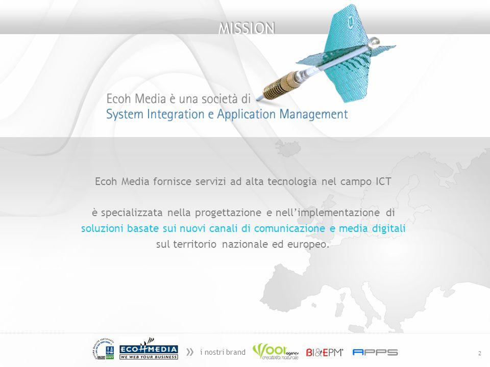 » i nostri brand 2 Ecoh Media fornisce servizi ad alta tecnologia nel campo ICT è specializzata nella progettazione e nellimplementazione di soluzioni basate sui nuovi canali di comunicazione e media digitali sul territorio nazionale ed europeo.