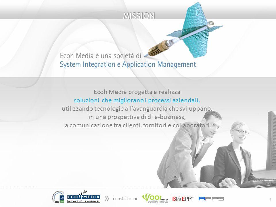 » i nostri brand 3 MISSION Ecoh Media progetta e realizza soluzioni che migliorano i processi aziendali, utilizzando tecnologie allavanguardia che sviluppano, in una prospettiva di di e-business, la comunicazione tra clienti, fornitori e collaboratori.