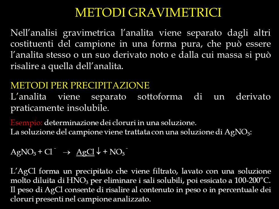 METODI GRAVIMETRICI Nellanalisi gravimetrica lanalita viene separato dagli altri costituenti del campione in una forma pura, che può essere lanalita stesso o un suo derivato noto e dalla cui massa si può risalire a quella dellanalita.