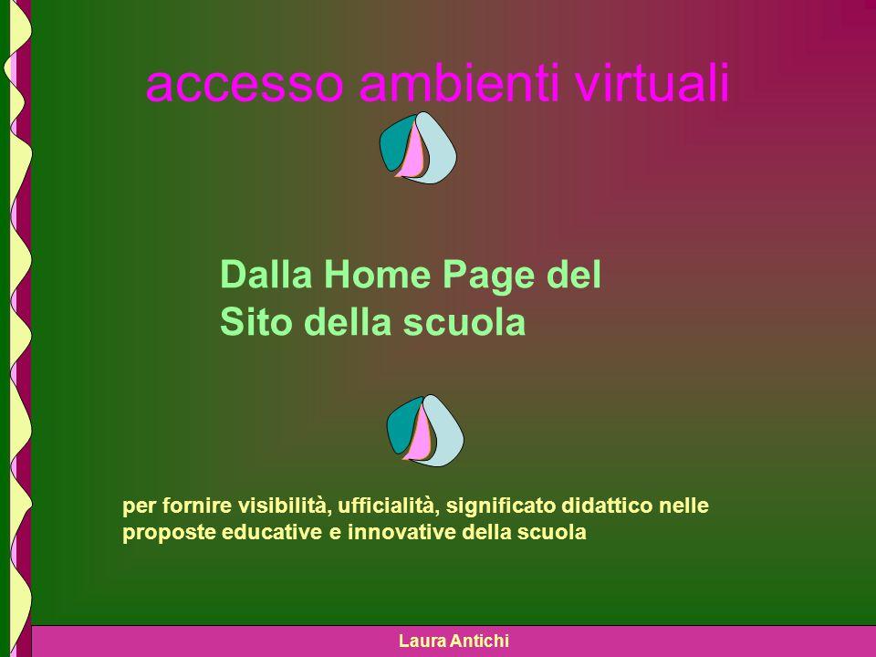 Laura Antichi accesso ambienti virtuali Dalla Home Page del Sito della scuola per fornire visibilità, ufficialità, significato didattico nelle proposte educative e innovative della scuola