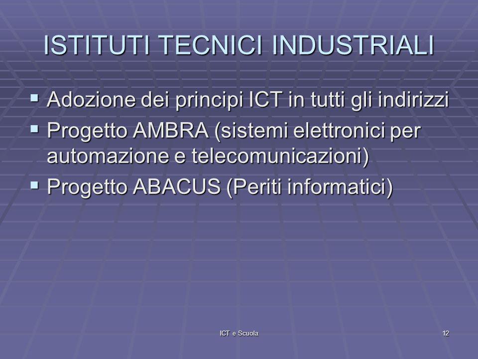ICT e Scuola12 ISTITUTI TECNICI INDUSTRIALI Adozione dei principi ICT in tutti gli indirizzi Adozione dei principi ICT in tutti gli indirizzi Progetto AMBRA (sistemi elettronici per automazione e telecomunicazioni) Progetto AMBRA (sistemi elettronici per automazione e telecomunicazioni) Progetto ABACUS (Periti informatici) Progetto ABACUS (Periti informatici)