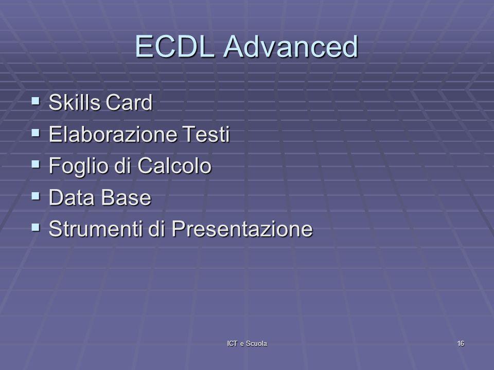 ICT e Scuola16 ECDL Advanced Skills Card Skills Card Elaborazione Testi Elaborazione Testi Foglio di Calcolo Foglio di Calcolo Data Base Data Base Strumenti di Presentazione Strumenti di Presentazione