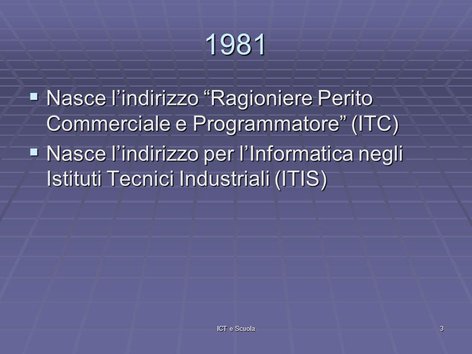 ICT e Scuola3 1981 Nasce lindirizzo Ragioniere Perito Commerciale e Programmatore (ITC) Nasce lindirizzo Ragioniere Perito Commerciale e Programmatore (ITC) Nasce lindirizzo per lInformatica negli Istituti Tecnici Industriali (ITIS) Nasce lindirizzo per lInformatica negli Istituti Tecnici Industriali (ITIS)