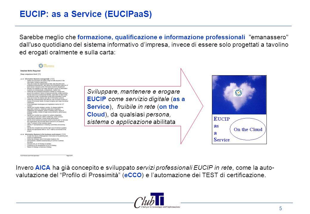 6 EUCIPaaS: Auto-valutazione delle competenze ICT (eCCO) (*) Modello eCCO Alla base vi è una ontologia, sviluppata su una rete semantica, che collega tra loro competenze e skill, estratti dai profili EUCIP.
