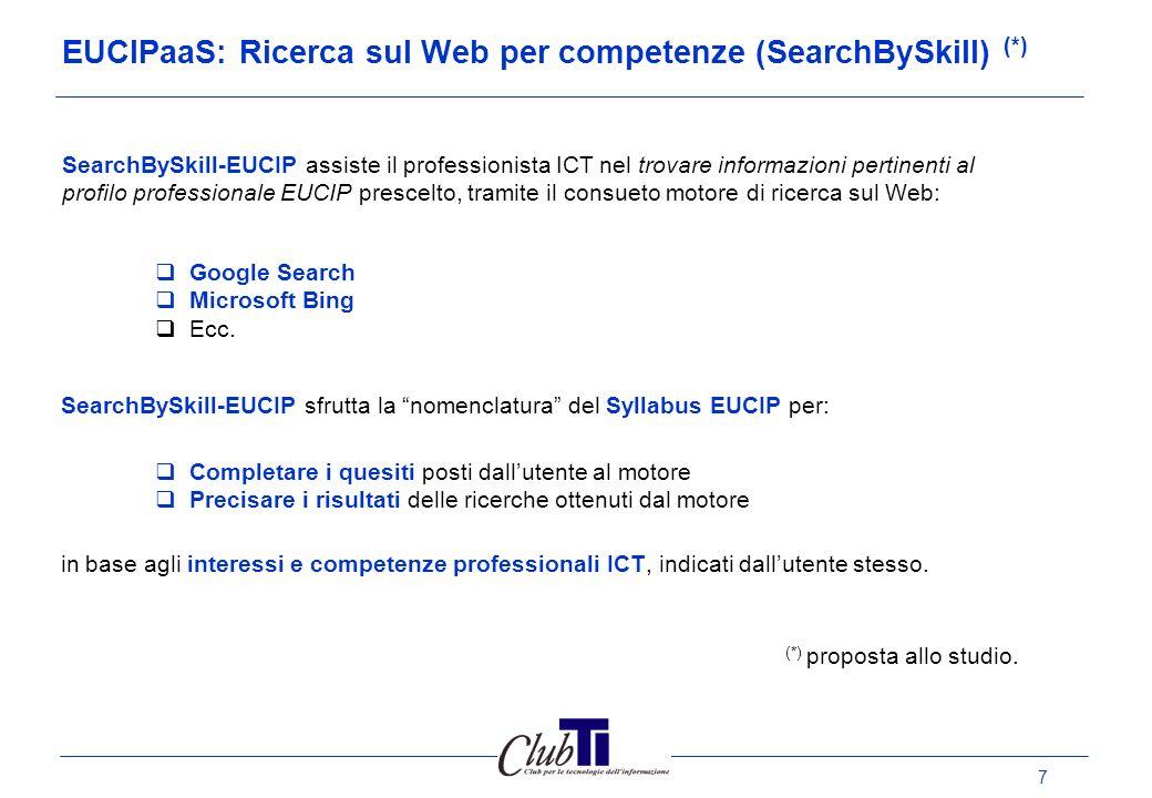 8 SearchBySkill (prototipo): mashup di EUCIPaaS e GoogleSearch Selezion a Profilo Seleziona Sub Categori a Mia Clausola Espansione ricerca Risultati: Web,Video, Blog, News, Libri, Immagini, Brevetti Mia Ricerca PROTOTIPO!