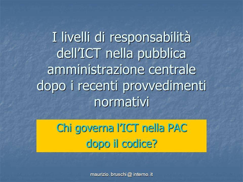 maurizio.bruschi @ interno. it Decreto legislativo 39/93 Istituzione dellA.I.P.A.