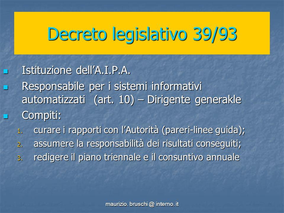 maurizio. bruschi @ interno. it Decreto legislativo 39/93 Istituzione dellA.I.P.A.