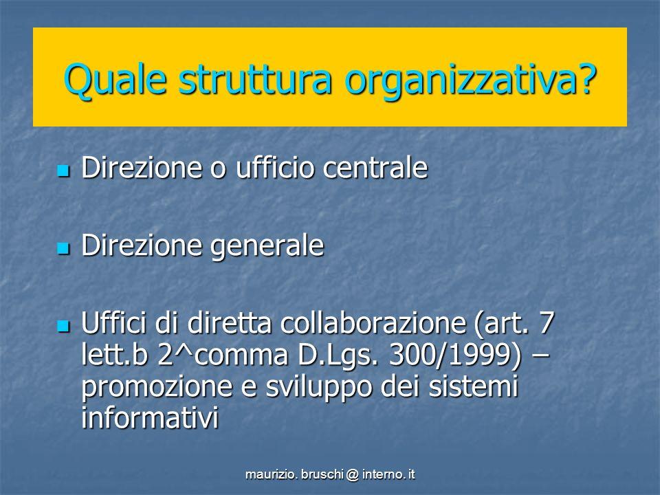 maurizio. bruschi @ interno. it Quale struttura organizzativa.