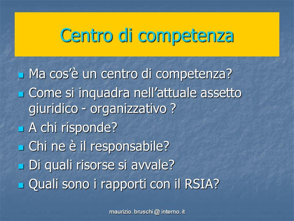 maurizio. bruschi @ interno. it Centro di competenza Ma cosè un centro di competenza.