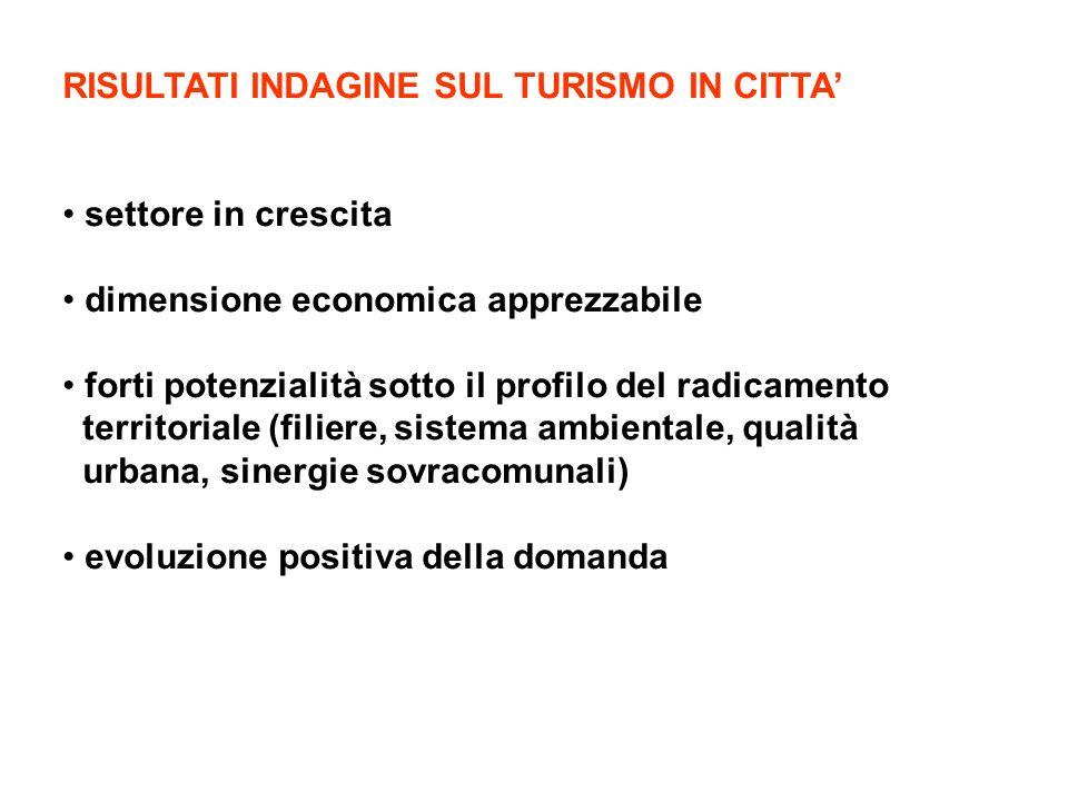 RISULTATI INDAGINE SUL TURISMO IN CITTA settore in crescita dimensione economica apprezzabile forti potenzialità sotto il profilo del radicamento territoriale (filiere, sistema ambientale, qualità urbana, sinergie sovracomunali) evoluzione positiva della domanda