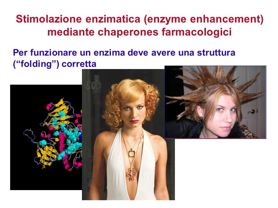 Per funzionare un enzima deve avere una struttura (folding) corretta Stimolazione enzimatica (enzyme enhancement) mediante chaperones farmacologici