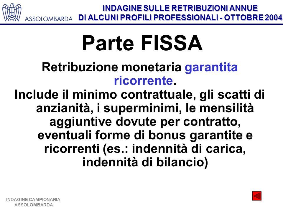 INDAGINE SULLE RETRIBUZIONI ANNUE DI ALCUNI PROFILI PROFESSIONALI - OTTOBRE 2004 INDAGINE CAMPIONARIA ASSOLOMBARDA Parte FISSA Retribuzione monetaria garantita ricorrente.