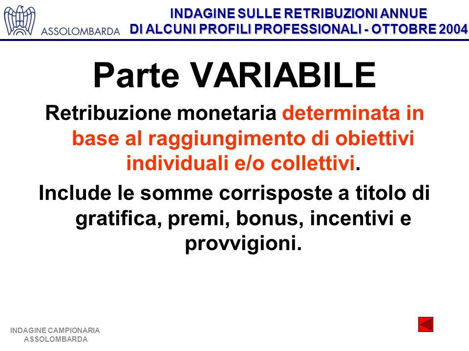 INDAGINE SULLE RETRIBUZIONI ANNUE DI ALCUNI PROFILI PROFESSIONALI - OTTOBRE 2004 INDAGINE CAMPIONARIA ASSOLOMBARDA Parte VARIABILE Retribuzione monetaria determinata in base al raggiungimento di obiettivi individuali e/o collettivi.