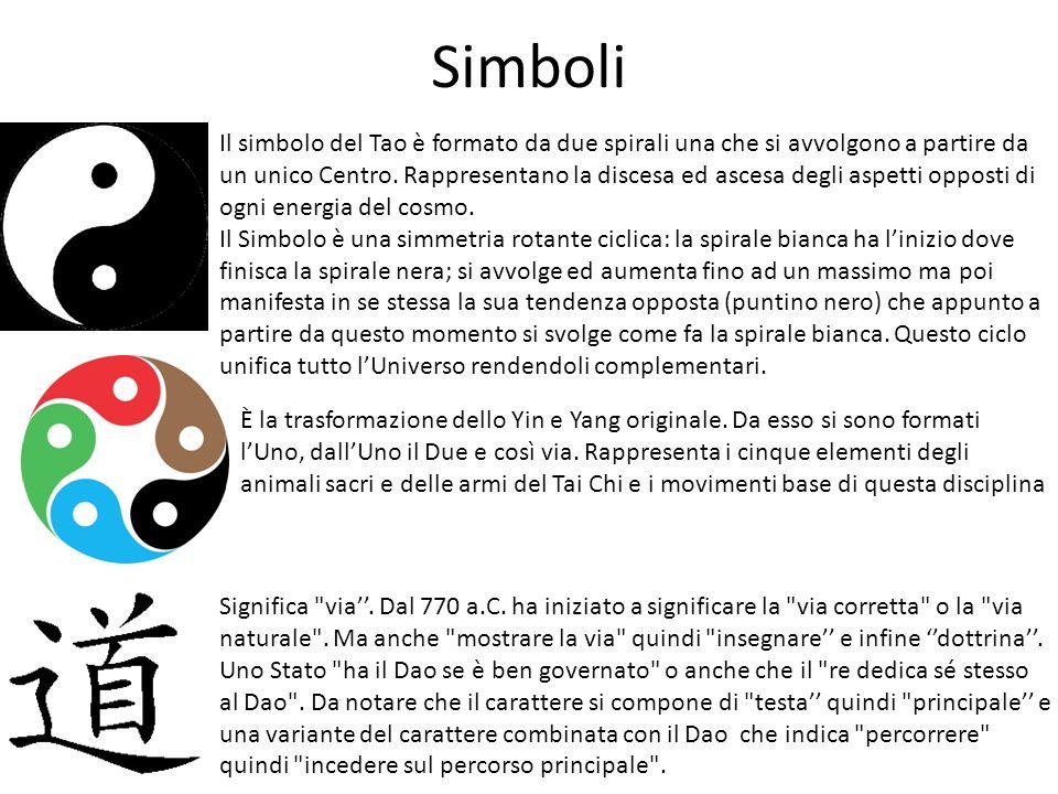 Simboli Il simbolo del Tao è formato da due spirali una che si avvolgono a partire da un unico Centro. Rappresentano la discesa ed ascesa degli aspett