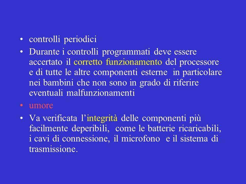 controlli periodici Durante i controlli programmati deve essere accertato il corretto funzionamento del processore e di tutte le altre componenti este