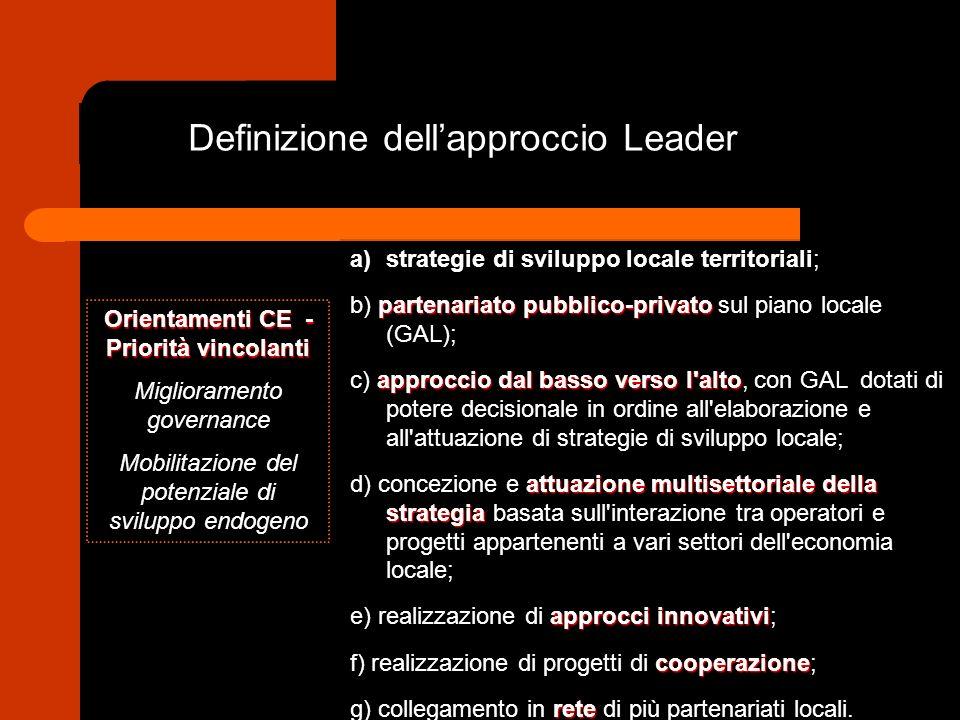 Definizione dellapproccio Leader a)strategie di sviluppo locale territoriali; partenariato pubblico-privato b) partenariato pubblico-privato sul piano locale (GAL); approccio dal basso verso l alto c) approccio dal basso verso l alto, con GAL dotati di potere decisionale in ordine all elaborazione e all attuazione di strategie di sviluppo locale; attuazione multisettoriale della strategia d) concezione e attuazione multisettoriale della strategia basata sull interazione tra operatori e progetti appartenenti a vari settori dell economia locale; approcci innovativi e) realizzazione di approcci innovativi; cooperazione f) realizzazione di progetti di cooperazione; rete g) collegamento in rete di più partenariati locali.