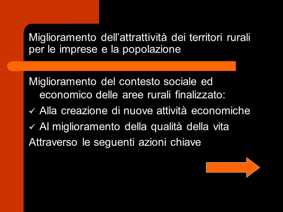 Miglioramento dellattrattività dei territori rurali per le imprese e la popolazione Miglioramento del contesto sociale ed economico delle aree rurali finalizzato: Alla creazione di nuove attività economiche Al miglioramento della qualità della vita Attraverso le seguenti azioni chiave