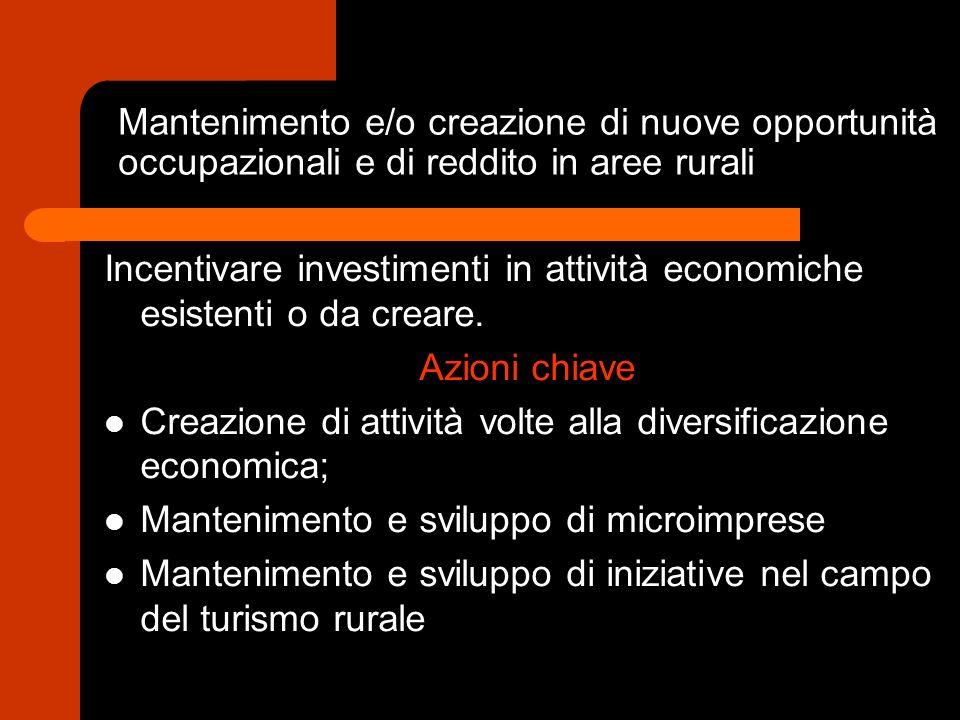 Mantenimento e/o creazione di nuove opportunità occupazionali e di reddito in aree rurali Incentivare investimenti in attività economiche esistenti o da creare.