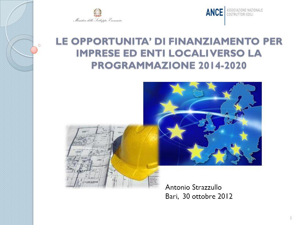 LE OPPORTUNITA DI FINANZIAMENTO PER IMPRESE ED ENTI LOCALI VERSO LA PROGRAMMAZIONE 2014-2020 1 Antonio Strazzullo Bari, 30 ottobre 2012